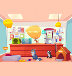 pet shop with home animals petshop supermarket vector image