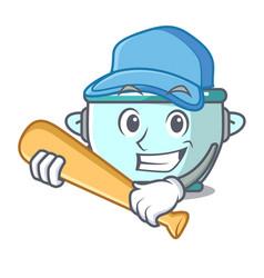 playing baseball steel pot character cartoon vector image