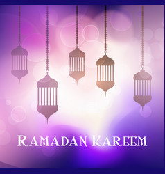 Ramadan kareem background with hanging lanterns vector