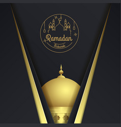 ramadan kareem greeting card with mosque vector image