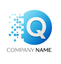 Realistic letter q logo in colorful circle vector