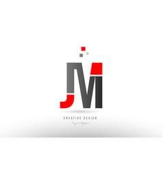 Red grey alphabet letter jm j m logo combination vector