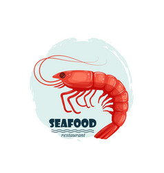 Red shrimp seafood restaurant label with splash vector
