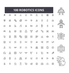 robotics editable line icons 100 set vector image