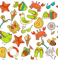 seamless patterns summer theme vector image