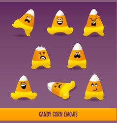 Set candy corn emojis for halloween vector