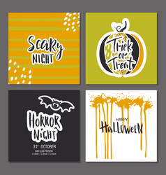 set halloween hand drawn greeting card vector image
