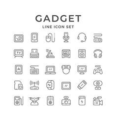 Set line icons gadget vector