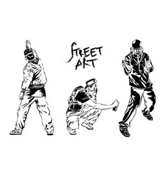 Set of graffiti artists collection street art vector