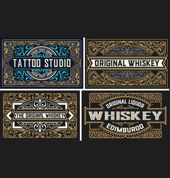 set whiskey labes layered vector image