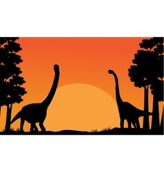 Silhouette of dinosaur brachiosaurus with orange vector image