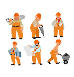 Six builders set vector