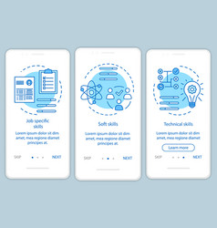 Skills blue onboarding mobile app page screen vector