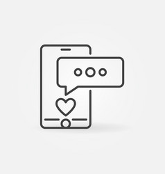 smartphone with speech bubble linear icon vector image