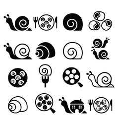 Snails French snail meal - escargot icons set vector