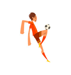 soccer player in red uniform kicking the ball vector image
