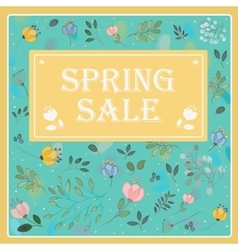 Spring Sale on the floral background card vector