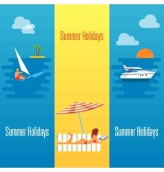 Summer Holidays Banner with Sexy Girl on Beach vector image