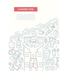 Summer Time - line design brochure poster template vector image