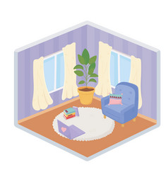 sweet home sofa chair cushion laptop plant carpet vector image