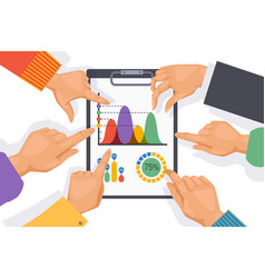 teamwork table elements employee hand on graph vector image