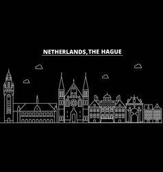 the hague silhouette skyline netherlands - the vector image