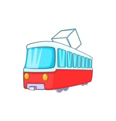 Tram icon in cartoon style vector