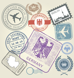 Travel stamps set germany and berlin journey vector