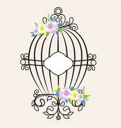 vintage bird cage decorated with flowers vector image