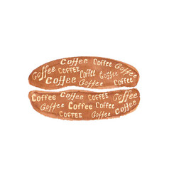 Watercolor coffee bean with lettering coffee vector