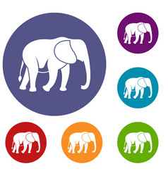 Wild elephant icons set vector