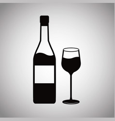 wine bottle and glass cup image vector image