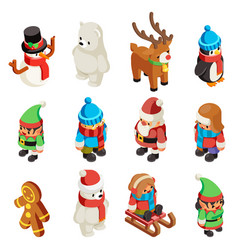 winter isometric character christmas new year 3d vector image