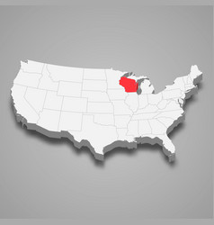 wisconsin state location within united states 3d vector image