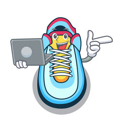 With laptop classic sneaker character style vector