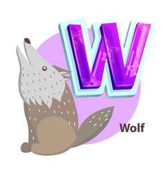 Wolf animal children alphabet vector