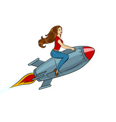 woman flying rocket pop art style vector image