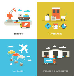 worldwide shipping logistics and industrial vector image