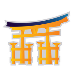 Yellow and blue on a white background a shinto vector