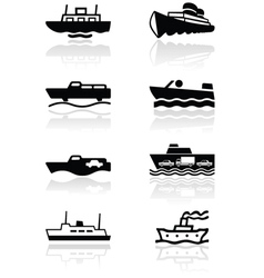 boat symbol set vector image vector image