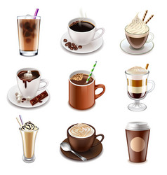 coffee drinks icons set vector image vector image