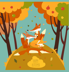 cute foxes in autumn forest vector image vector image