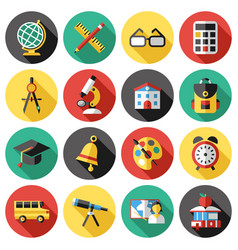 Digital red green blue school icons vector