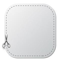 paper sticker with scissors vector image vector image
