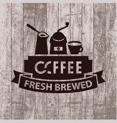 banner with cezve grinder and cup of coffee vector image