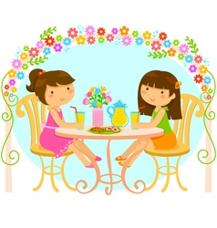 girls relaxing in the garden vector image vector image