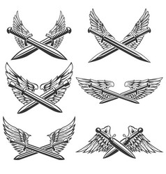 set of swords with wings design elements for logo vector image