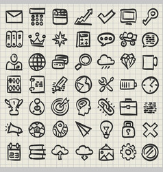 sketch of technology icon set vector image vector image