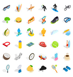 victory icons set isometric style vector image