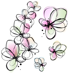 abstract watercolor flowers vector image vector image